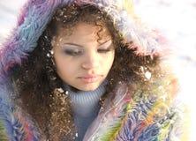snöig flicka Royaltyfri Bild