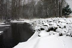 snöig flod Royaltyfria Bilder