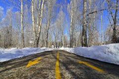 Snöig fotvandra slinga på en knaprig klar morgon Royaltyfria Foton