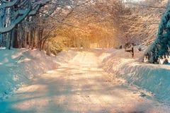 Snöig gata royaltyfria foton