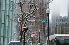Snöig gata efter vinterstorm i Boston, USA på December 11, 2016 Royaltyfria Bilder
