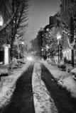 snöig gata för natt Arkivfoto