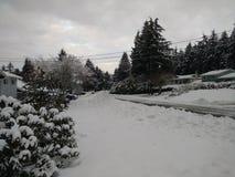 Snöig gator Fotografering för Bildbyråer