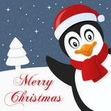 Snöig glad julkort för pingvin Royaltyfri Fotografi