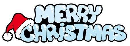snöig glatt tecken för jul stock illustrationer