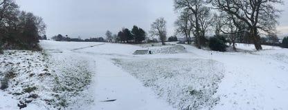 Snöig golfbana Royaltyfri Bild