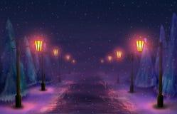 Snöig gränd Royaltyfri Bild