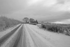 Snöig gränd, Yorkshire Arkivfoton