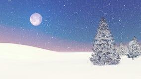 Snöig granar och snöfall på gryning stock illustrationer