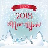 2018 snöig hälsningkort för lyckligt nytt år Fotografering för Bildbyråer