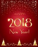 2018 snöig hälsningkort för lyckligt nytt år Arkivbild