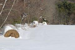 Snöig höbaler Royaltyfria Bilder