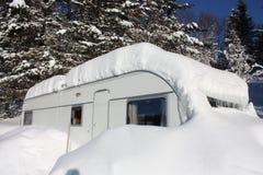 Snöig husvagn Arkivbilder
