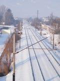 Snöig järnväg Fotografering för Bildbyråer