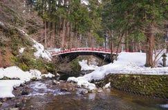 Snöig Japan bro fotografering för bildbyråer