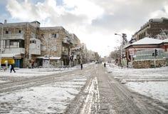 Snöig Jerusalem gator Fotografering för Bildbyråer