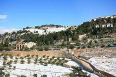 Snöig Jerusalem vintertid Royaltyfri Bild