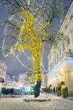 Snöig jul Lviv Arkivfoto