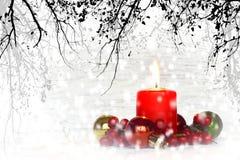 Snöig julkort Arkivbild