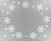 Snöig julram Moussera stjärnor och snöflingor i vit Samkopieringsdekor Vektorillustration på genomskinlig bakgrund vektor illustrationer