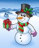 snöig julsnowman Royaltyfri Bild