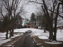 Snöig körbana Arkivfoto