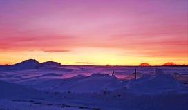 Snöig kallt, vintersolnedgång arkivbild