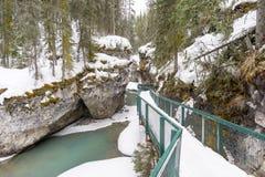 Snöig kanjonstrandpromenad fotografering för bildbyråer
