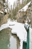 Snöig kanjonstrandpromenad arkivfoton