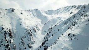 snöig kazakhstan berg Öppnar sikten av klyftan, åt att växa på kullarna och överkanten av berget arkivfoton