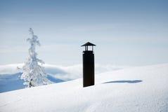 snöig lampglas arkivfoton