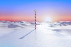 Snöig landscape med polen Arkivbilder