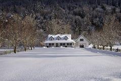 snöig landshus Royaltyfri Bild
