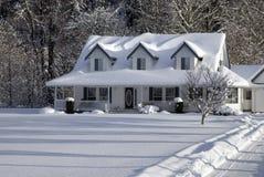 snöig landshus Arkivfoto
