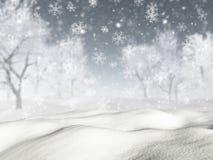 snöig landskap 3D med fallande snö stock illustrationer