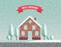 Snöig landskap för glad jul Royaltyfria Foton