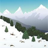 Snöig landskap för vinter i bergen Arkivfoto