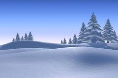 Snöig landskap med granträd Arkivbild