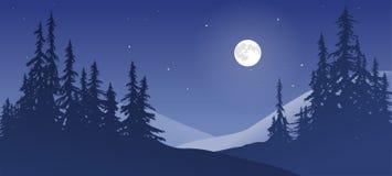 Snöig landskap med månen Arkivbilder