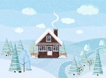 Snöig landskapplats för vinter med tegelstenhuset, vinterträd, granar, moln, flod, snö, fält i plan stil för tecknad film, jul royaltyfri illustrationer