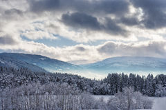 Snöig liggande i Norge Arkivbild