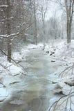 Snöig liten vikspring till och med trän Arkivbild