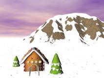 snöig ljust rödbrun hus för bröd Royaltyfria Bilder