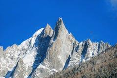Snöig maxima på det Mont Blanc området Mont Blanc bergmassiv s Royaltyfri Bild