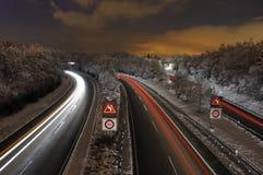snöig motorväg Fotografering för Bildbyråer