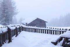Snöig och dimmigt bergvinterlandskap royaltyfri bild