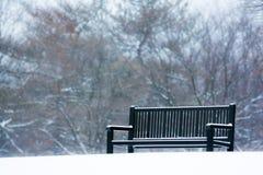 Snöig parkera bänken Royaltyfri Foto