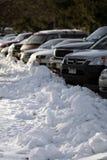 snöig parkering Arkivbilder