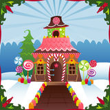 snöig pepparkakahus Royaltyfri Fotografi