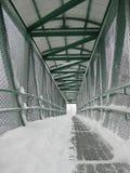 Snöig planskild korsning Fotografering för Bildbyråer